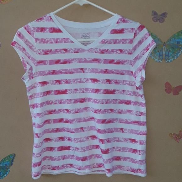 Faded Glory Girls Pink Short Sleeve Basic V-Neck Tee T-Shirt Size XL 14-16